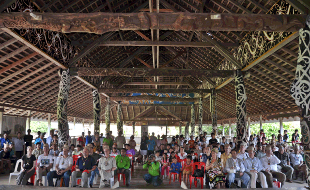 Gathering at the village hall of Pulau Sapi village